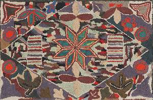 Vibrant American hooked rug early 20th c