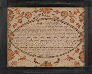 Northampton County Pennsylvania watercolor and ink on paper fraktur birth record for
