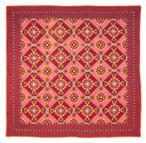 Lebanon County Pennsylvania Mennonite colorful pieced and appliqu quilt late 19th c