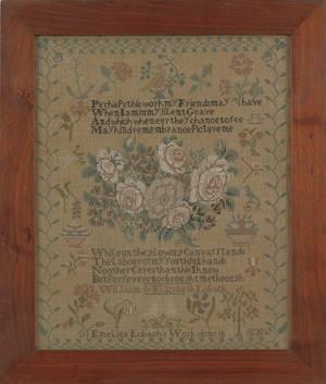 Berks County Pennsylvania silk on linen sampler dated