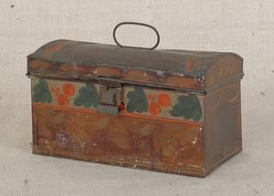 Pennsylvania toleware dome lid box 19th c