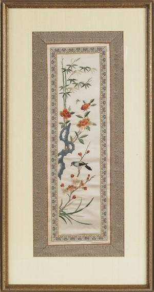 Four Oriental painted silk panels