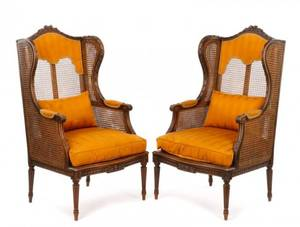 Pair 19th C French Caned Walnut Winged Bergeres