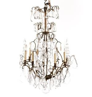 Baroque Style Bronze  Crystal Chandelier 20th C