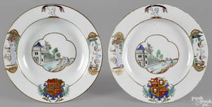 Chinese export porcelain armorial plate and shallow bowl 18th c