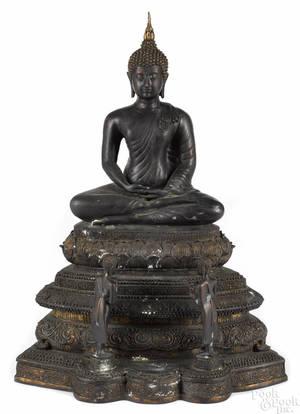 Southeastern Asian bronze figure of a seated Buddha