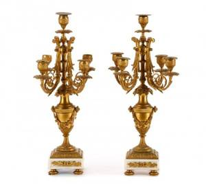 Pair of Louis XVI Style Bronze 5Light Candelabras
