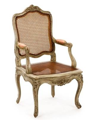 Louis XV Period Painted  Caned Fauteuil