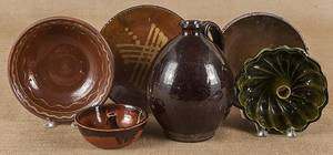 Seven pieces of redware