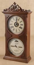 Ithaca walnut calendar shelf clock
