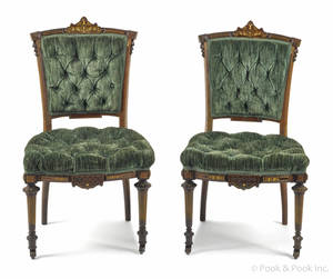 Pair of New York rosewood parlor chairs