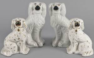 Two pairs of Staffordshire spaniels