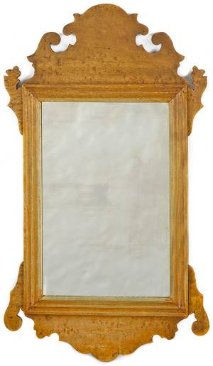 Chippendale style maple looking glass