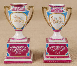 Pair of Dresden style porcelain urns