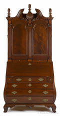 Kittinger mahogany bombe secretary desk and bookcase