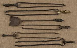 Five pair of fire tongs