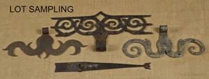 Collection of wrought iron hinges
