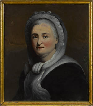 Pair of reverse painted portraits of George and Martha Washington