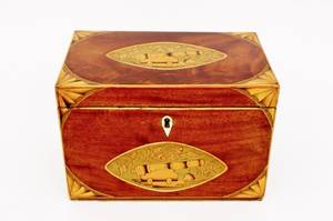 Mahogany Inlaid Tea Caddy with Cannon Motif
