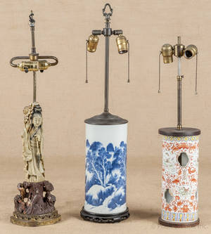 Two Chinese porcelain table lamps