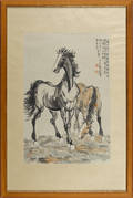 Chinese watercolor of two horses