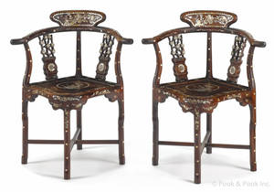Pair of Chinese mother of pearl inlaid hardwood chairs