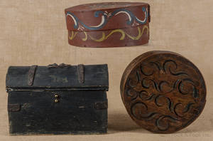 Two Continental painted bentwood boxes