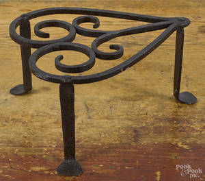 Wrought iron heart trivet ca 1800