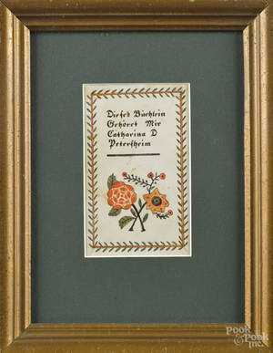 Lancaster Pennsylvania ink and watercolor fraktur bookplate late 19th c