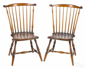Pair of Pennsylvania fanback Windsor side chairs ca 1800