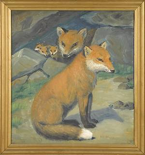 Oil on canvas portrait of a fox
