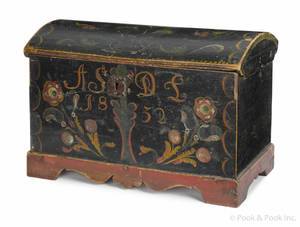 European painted pine dome lid box