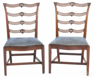 Pair of Philadelphia Chippendale mahogany ribbonback side chairs ca 1780