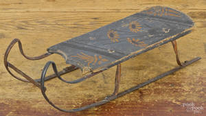 Miniature painted pine sled 19th c