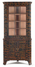Pennsylvania painted pine twopart corner cupboard early 19th c