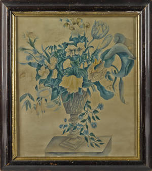 Watercolor of an urn of flowers