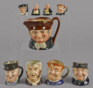 Seven Royal Doulton toby mugs