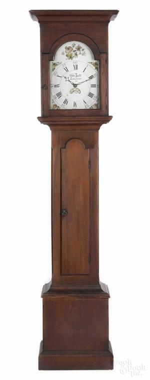 Lancaster Pennsylvania Queen Anne walnut tall case clock ca 1765