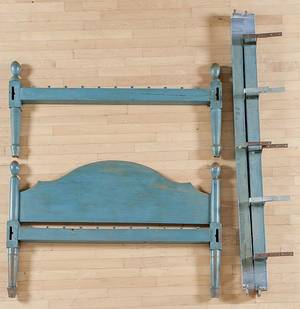 Blue painted rope bed