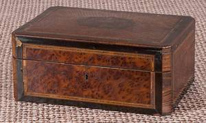 Regency burled walnut sewing box
