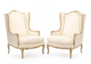 Pair Louis XV Style Winged Confessional Bergeres