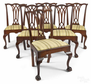 Set of five Philadelphia Chippendale mahogany dining chairs ca 1775