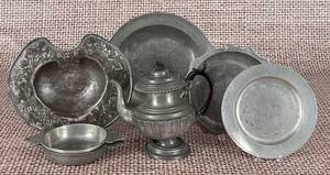 Seven pieces of Continental pewter