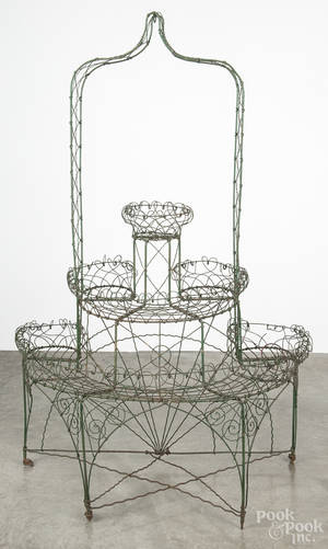 Victorian painted wire plant stand