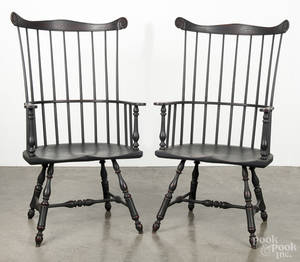 Pair of contemporary painted Windsor armchairs