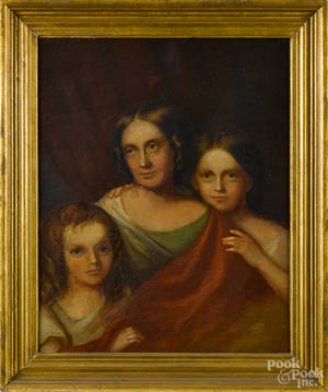 Oil on canvas portrait of a woman and two daughters