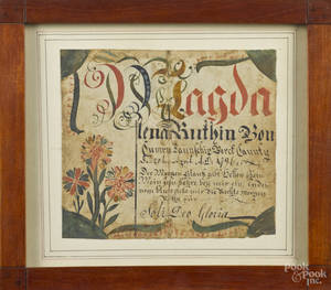 Berks County Pennsylvania ink and watercolor fraktur for