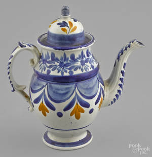 English pearlware coffee pot 19th c