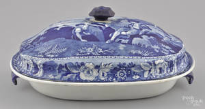 Blue Staffordshire covered entre dish 19th c