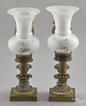 Pair of bronze argand lamps mid 19th c